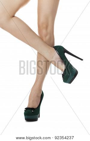 Sexy Woman Legs In Green High Heel Shoes