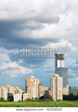 Apartment House Against The Sky. Construction Of The Skyscraper.