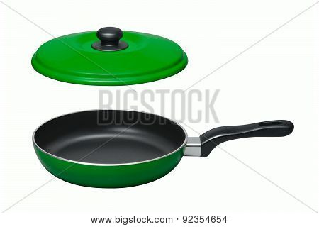 Pan With Lid On White Background
