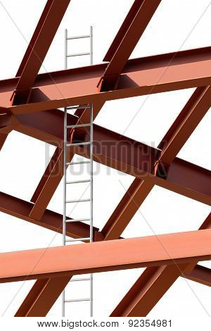 Steel Beams And Ladder On A White Background. Fragment Construction Site.