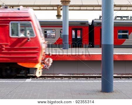Railway Station. Train Departure.