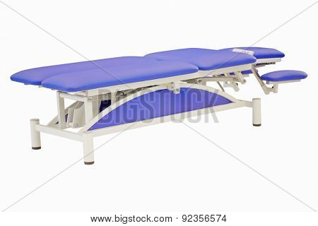 Blue massage bed under the white background