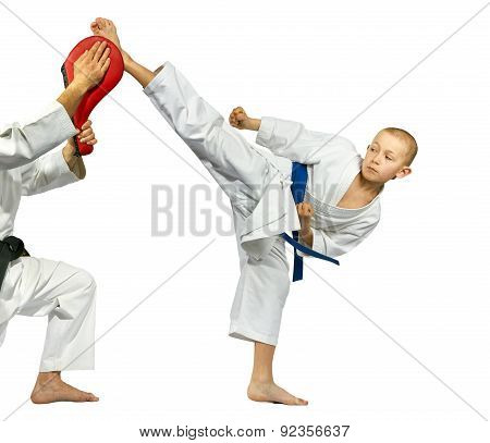 The blow mawashi geri beats a small sportsman on simulator