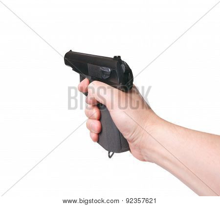 Gun In Hand On A White Background. Aiming