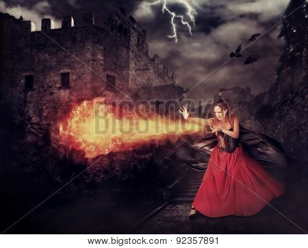 Witch In Medieval Castle Cast Magic - Fireball