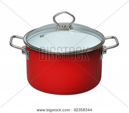 Saucepan With Glass Lid On White Background