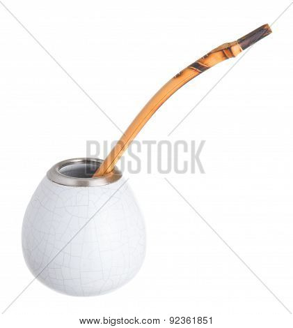 Yerba Mate Cup On White Background. Calabash And Bombilla