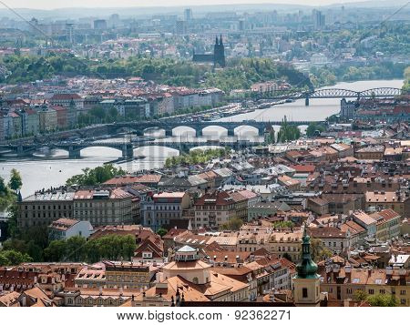 Panoramic view of Old Town Prague with Bridges over Vltava river, Prague, Czech Republic