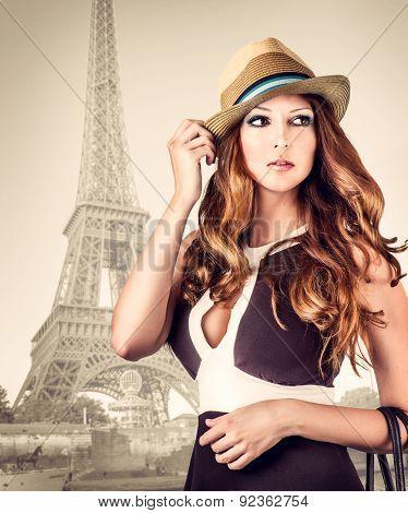 Fashion Portrait Of Woman In Paris