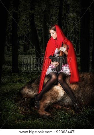 Little Girl Red Riding Hood With Automatic