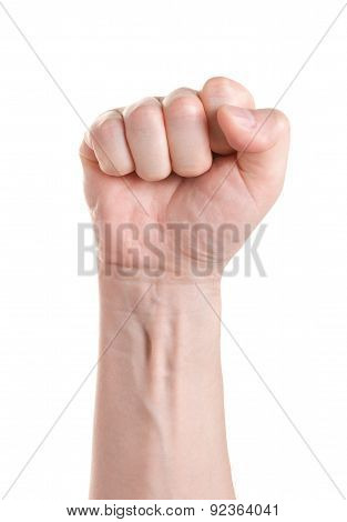 Fist. Gesture Of The Hand On White Background