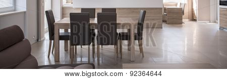 Table With Leather Chairs