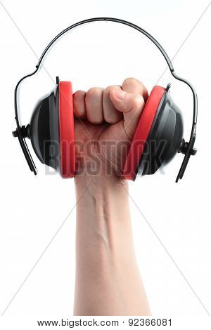 headphones and hand on a white background