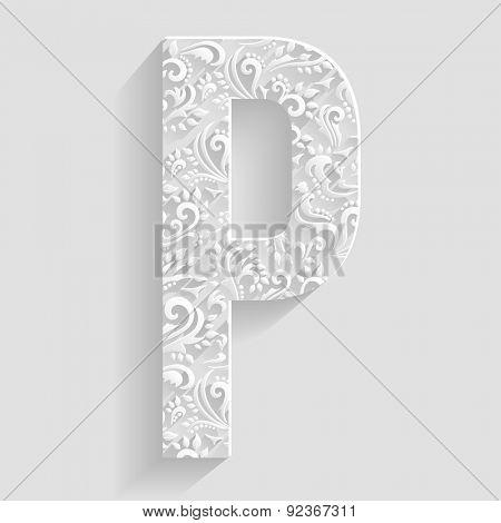 Letter P. Vector Floral Invitation cards Decorative Font