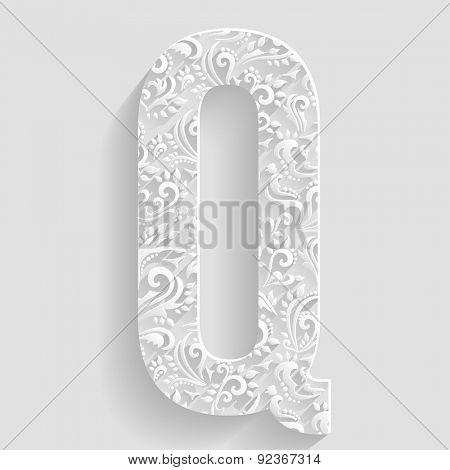 Letter Q. Vector Floral Invitation cards Decorative Font