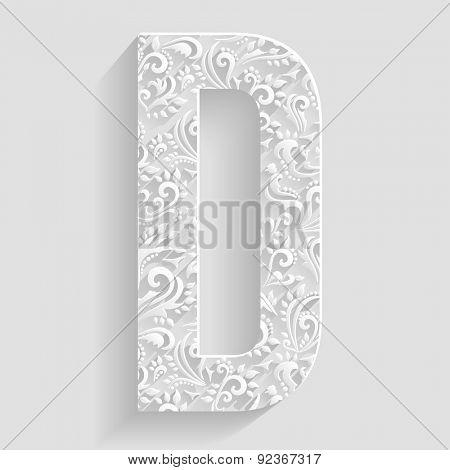 Letter D. Vector Floral Invitation cards Decorative Font