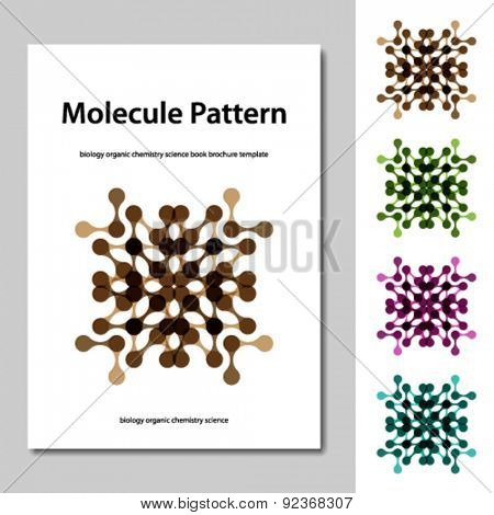 vector molecule science pattern brochure template