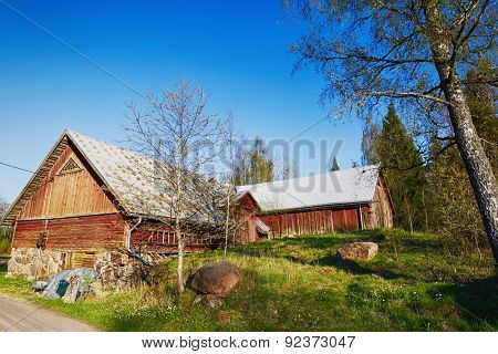 old 16th century farm house in old culture surroundings, Sweden