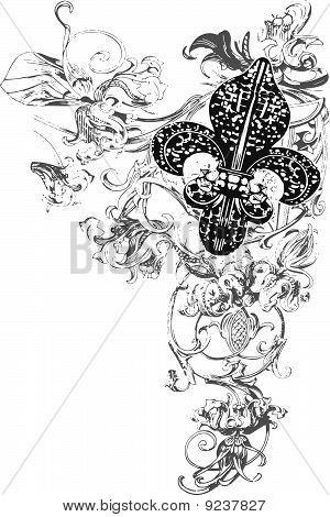 Floral ornament banner