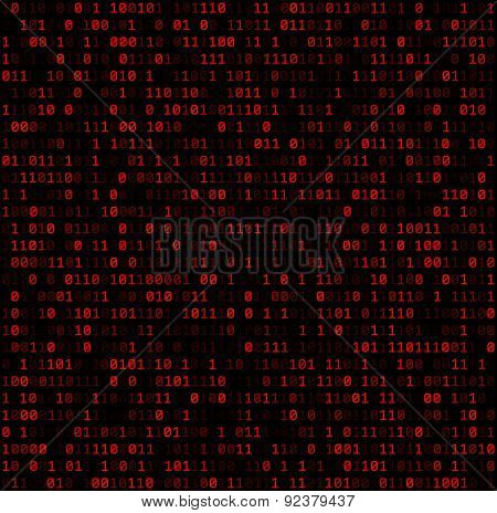 Binary background with red digits. Vector illustration.