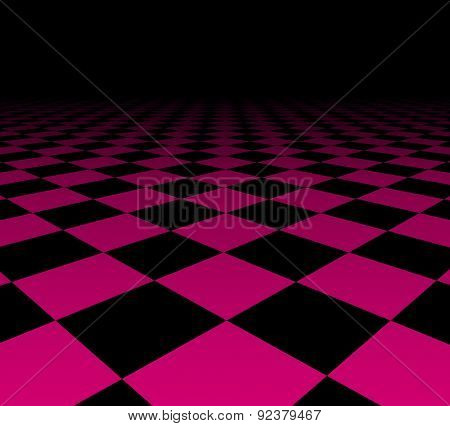 Perspective dark grid. Checkered surface. Vector illustration.