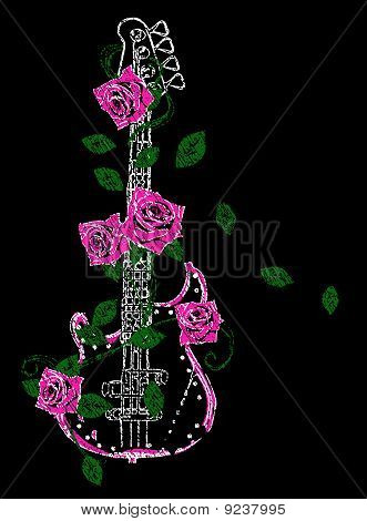 pink guitar and rose design