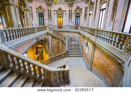 PORTO, PORTUGAL - OCTOBER 15, 2014: Stairs in the Stock Exchange Palace (Palacio da Bolsa). The palace was built in the 19th century by the city's Commercial Association.