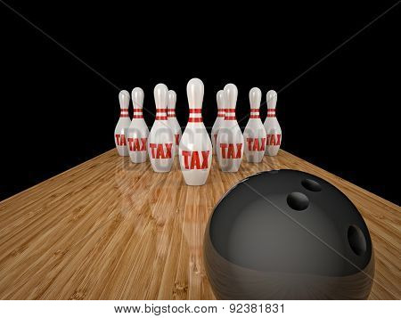 bowling skittle and tax text background