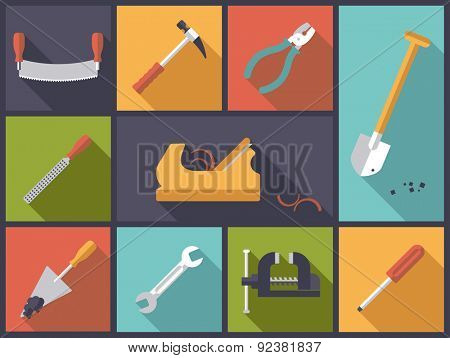 Crafting tools icons vector illustration. Flat design illustration with various tools icons related to crafts and DIY