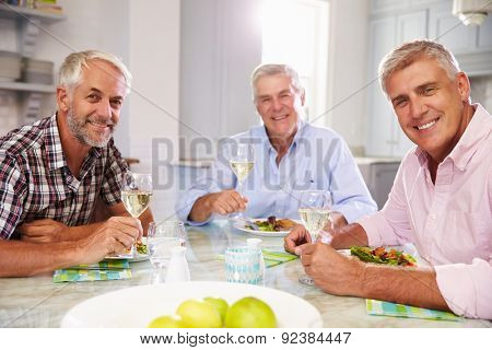 Portrait Of Mature Male Friends Enjoying Meal At Home