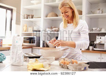 Woman baking at home