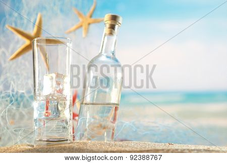 Traditional Greek ouzo at the beach