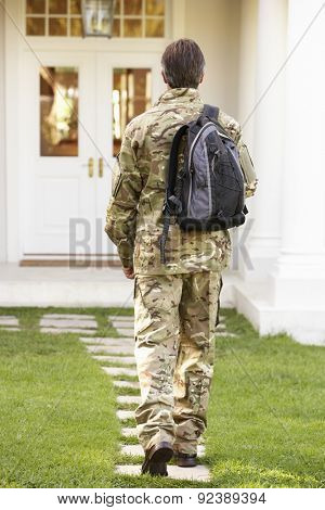 Back View Of Soldier Returning Home