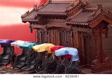 Chinese Door and Rickshaw Model