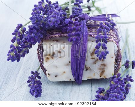 handmade lavender soap with fresh flowers