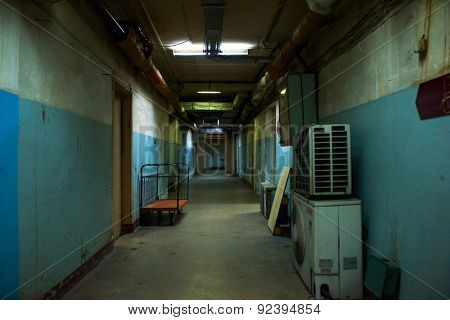 Dark corridor, soviet style, mysterious and dangerous place