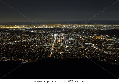 Night aerial of Glendale and downtown Los Angeles in Southern California.