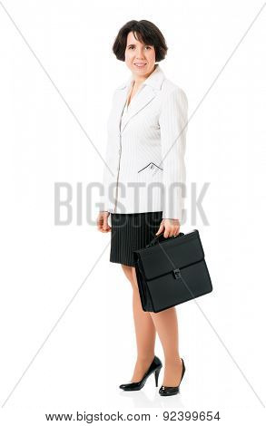 Business woman or teacher in suit with briefcase, isolated white background