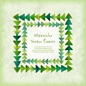 foto of announcement  - Vector square frame of watercolor triangles on vintage background - JPG