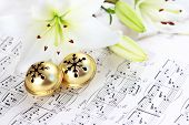 stock photo of christmas bells  - Christmas still life with jingle bells and music notes - JPG