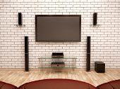 picture of subwoofer  - 3D Illustration Of Home Theater Interior  - JPG