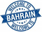 stock photo of bahrain  - welcome to Bahrain blue round ribbon stamp - JPG