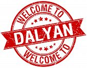 picture of dalyan  - welcome to Dalyan red round ribbon stamp - JPG