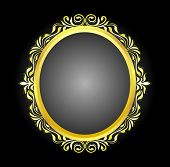 picture of oval  - Gold frame oval floral vector corner line art design from illustrator for picture photo or sticker cut and vinly design - JPG