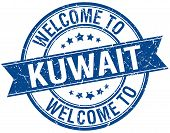 stock photo of kuwait  - welcome to Kuwait blue round ribbon stamp - JPG