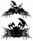 foto of raven  - heraldic shields with swords axes and raven birds  - JPG