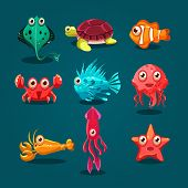 pic of creatures  - Cute sea life creatures cartoon animals set with fish octopus jellyfish isolated vector illustration - JPG