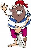 image of pegging  - Cartoon Illustration of Funny Pirate with Peg Leg and Sword - JPG