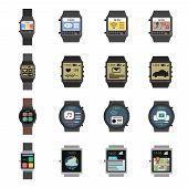 image of watch  - Smart watch modern electronic devices icon flat set isolated vector illustration - JPG