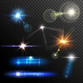 stock photo of flashing  - Realistic lens flares beams and flashes on transparent background vector illustration - JPG